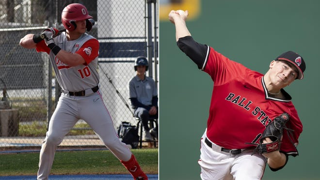 Former Jackson High School teammates Dillon Dingler (left, playing for Ohio State) and Kyle Nicolas (right, playing for Ball State) were chosen within 23 picks of each other during Thursday's Major League Baseball Draft.