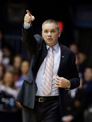 Butler coach Chris Holtmann gives instructions during the first half of the team's NCAA college basketball game against DePaul, Wednesday, Jan. 27, 2016, in Indianapolis. (AP Photo/Darron Cummings)