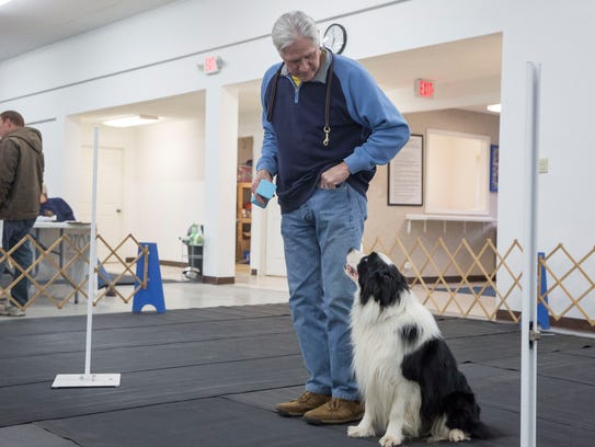 Dash works with his owner Bob Janek at the Muncie Obedience