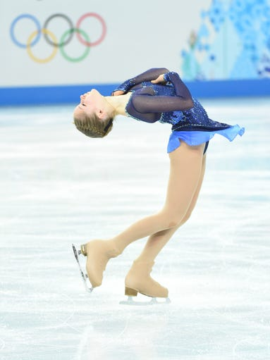 Julia Lipnitskaia of Russia during the figure skating team ladies short program at the Sochi 2014 Olympic Winter Games at Iceberg Skating Palace.
