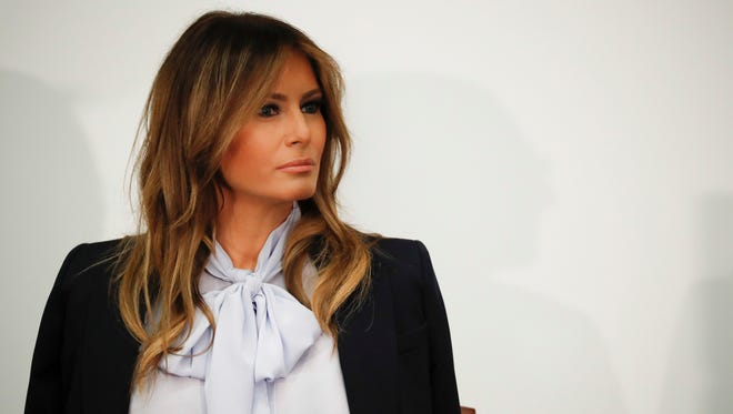 First lady Melania Trump at the anti-cyber-bullying summit hosted by Federal Partners in Bullying Prevention in Rockville, Md., Aug. 20, 2018.