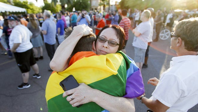 A vigil for the Orlando shooting victims at the Phoenix Pride LGBT Center on June 12, 2016.