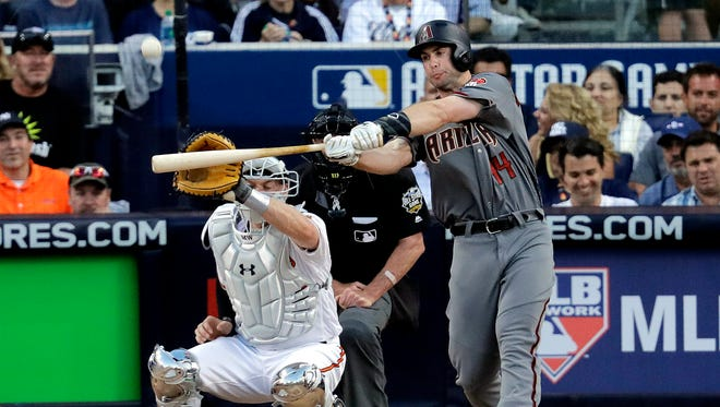 National League's Paul Goldschmidt, of the Arizona Diamondbacks, hits during the MLB baseball All-Star Game, Tuesday, July 12, 2016, in San Diego.