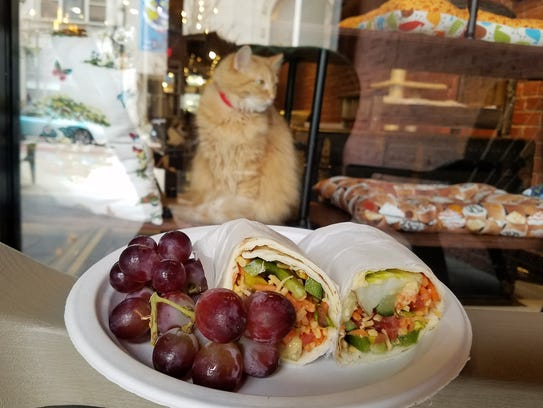 The vegetable wrap at River Kitty Cafe and Wine Bar
