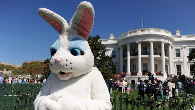 A person dressed as a Easter bunny watches children participate in the annual White House Easter Egg Roll on the South Lawn April 21, 2014 in Washington, DC.