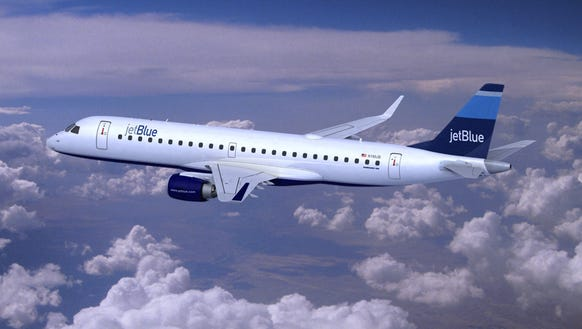 This undated file photo shows an image of a JetBlue