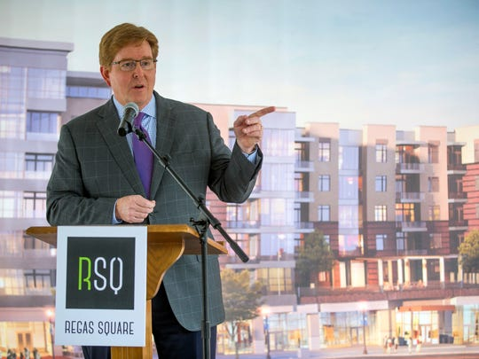 Joe Peter, president of Conversion Properties, Inc., speaks at a groundbreaking ceremony for Regas Square, a mixed-use development, on Monday, February, 6, 2017.
