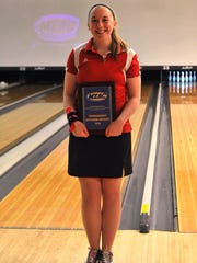 Delaware State senior Stephanie Sheridan earned Outstanding Tournament Performer honors, by registering a 193.0 average pinfall during team games on Friday
