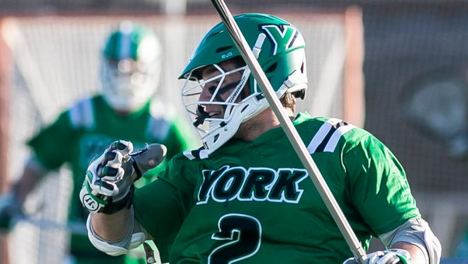 York College's Joey Fiorino (2) has signed with the Boston Rattlers of Major League Lacrosse. YORK DISPATCH FILE PHOTO
