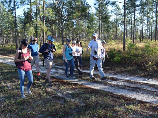 Jim Cox and FSU science students in Apalachicola National Forest.