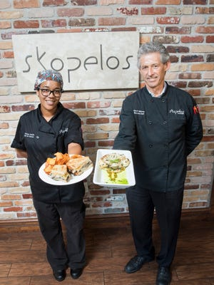 Chefs Takara Smith and Gus Silivos show off vegan dishes available at Skopelos at New World. The restaurant is presenting the seven-course Chef's Tasting Experience: The Vegan Wine Dinner on Thursday.
