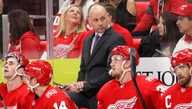 Red Wings coach Jeff Blashill looks on during the second period on Saturday, Jan. 20, 2018, at Little Caesars Arena.