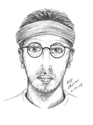 The sketch of the man who exposed himself to a woman  in Ferndale. Police are searching for him.