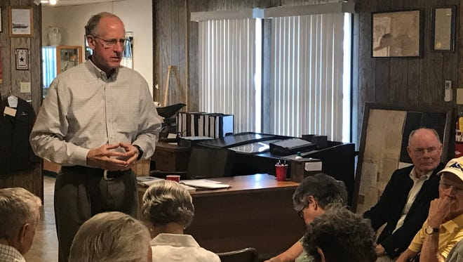 Congressman Mike Conaway listens as one of his constituents asks a question during a town hall meeting in Mertzon May 3, 2018. Conaway is a Republican from Midland who represents the 29-county  11th Congressional District of Texas.