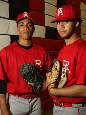 Perth Amboy high school baseball players Darius Diaz left and Chris Brito.