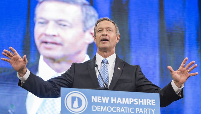 Democratic presidential candidate and former Maryland Gov. Martin O'Malley speaks during the New Hampshire Democratic Party State Convention on Sept. 19.