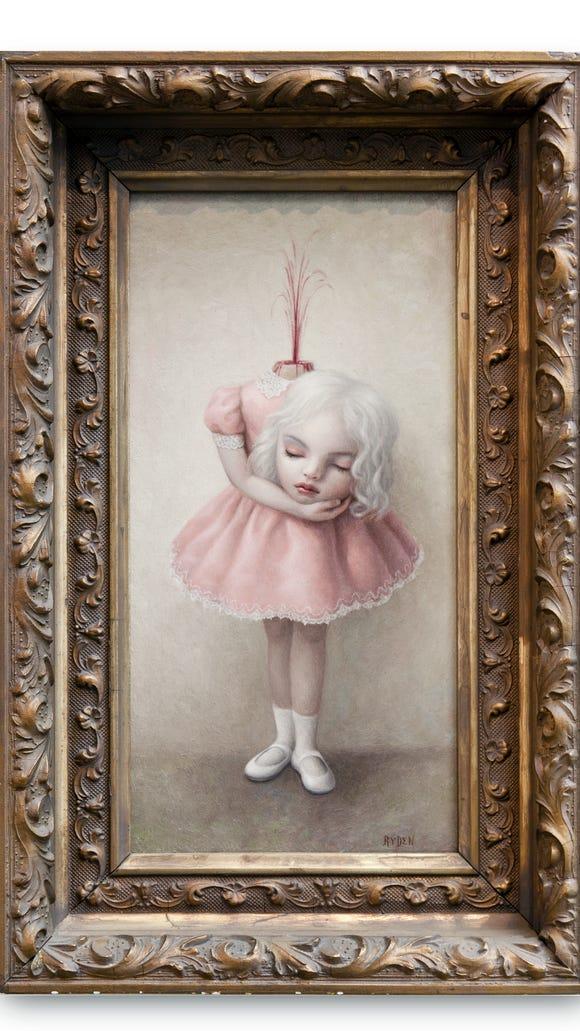 "Mark Ryden, ""Fountain,"" 2003, oil on panel, 12 x 6 1/4 inches."