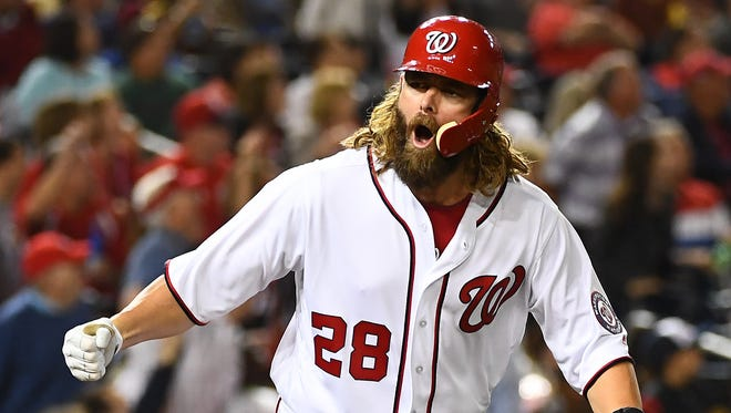 Nationals hitter Jayson Werth reacts after hitting a two-run home run against the Marlins during the fourth inning at Nationals Park in Washington.