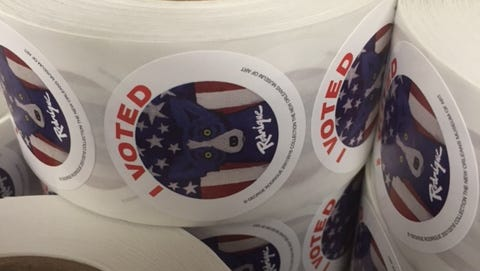 "Rolls of ""I Voted"" stickers"