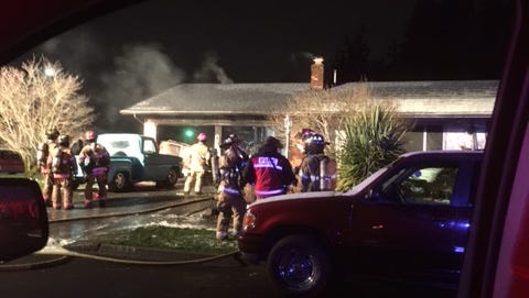 A fire broke out in a garage in the 3800 block of Ibis St NE.