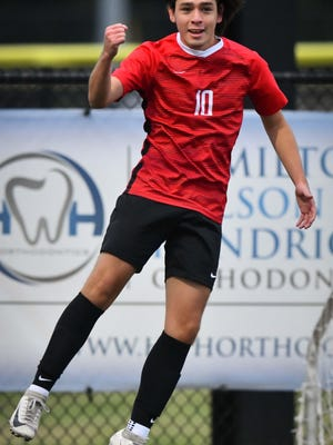 Shawnee Heights senior Jonny Jasso celebrates after scoring one of his two goals in Thursday's 3-0 boys soccer win over Seaman.