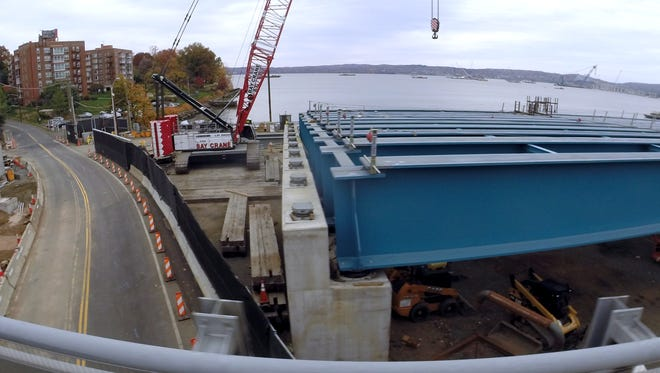 Girders for the new Tappan Zee Bridge stop just short of River Road in South Nyack on Nov. 7.