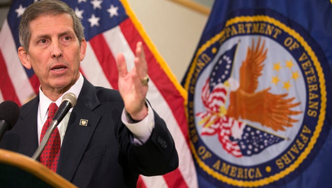 """""""In far too many circumstances, we have let our veterans down,"""" acting VA Secretary Sloan Gibson said in Phoenix."""
