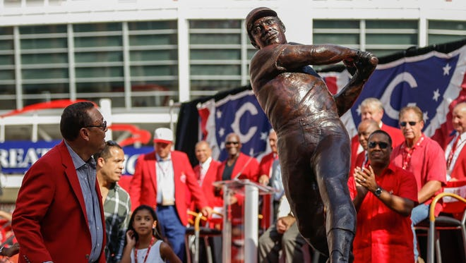 Tony PeŽrez examines a statue of himself depicted from his days as a major league player for the Reds in this August 2015 file photo. Tony 'Big Dog' PŽrez, a Baseball Hall of Famer, served as a key player for the Big Red Machine.