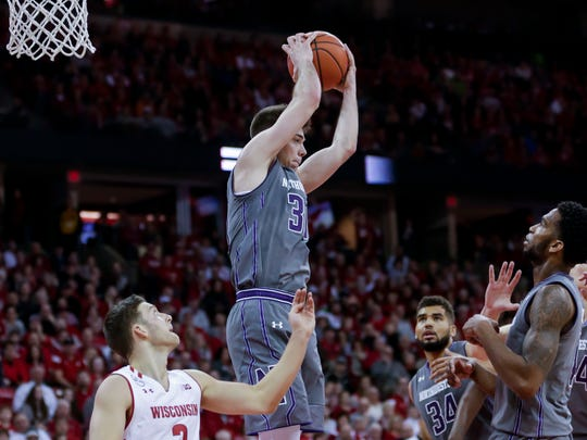 Northwestern's Bryant McIntosh finishes with 25 points, seven assists and seven rebounds.
