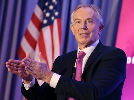 Tony Blair speaks at a No Labels event in Washington