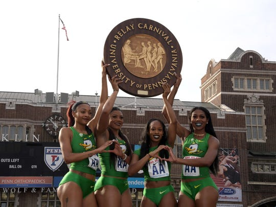 Members of the Oregon women's 4 x 400m relay pose after winning the Championship of America race in a meet record 3:24.72 during the 123rd Penn Relays at Franklin Field. From left: Tarrytown resident and former Mount Vernon and New Rochelle star Deajah Stevens, Mackenzie Dunmoree, Elexis Guster and Raeven Rogers.