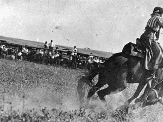 Fannie Sperry Steele rides Dismal Dick at the Windham Roundup, Aug. 20-21, 1920.
