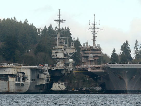 The USS Independence and the USS Kitty Hawk on Tuesday