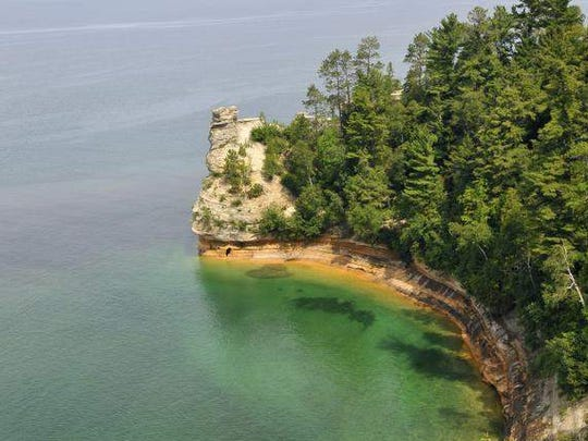 Miner's Castle at the Pictured Rocks on Lake Superior in Michigan's Upper Peninsula 7/30/2013. The Upper Peninsula has a wide variety of rocks and minerals for rock sleuths.