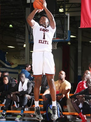 Jaylen Brown goes up for a shot at the Adidas Gauntlet in Indianapolis.