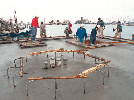 Construction of the memorial to slain Tejano star Selena, Mirador de la Flor, continues on Feb. 24, 1997 along the Corpus Chrisit bayfront at the Peoples Street T-Head and Shoreline Blvd.