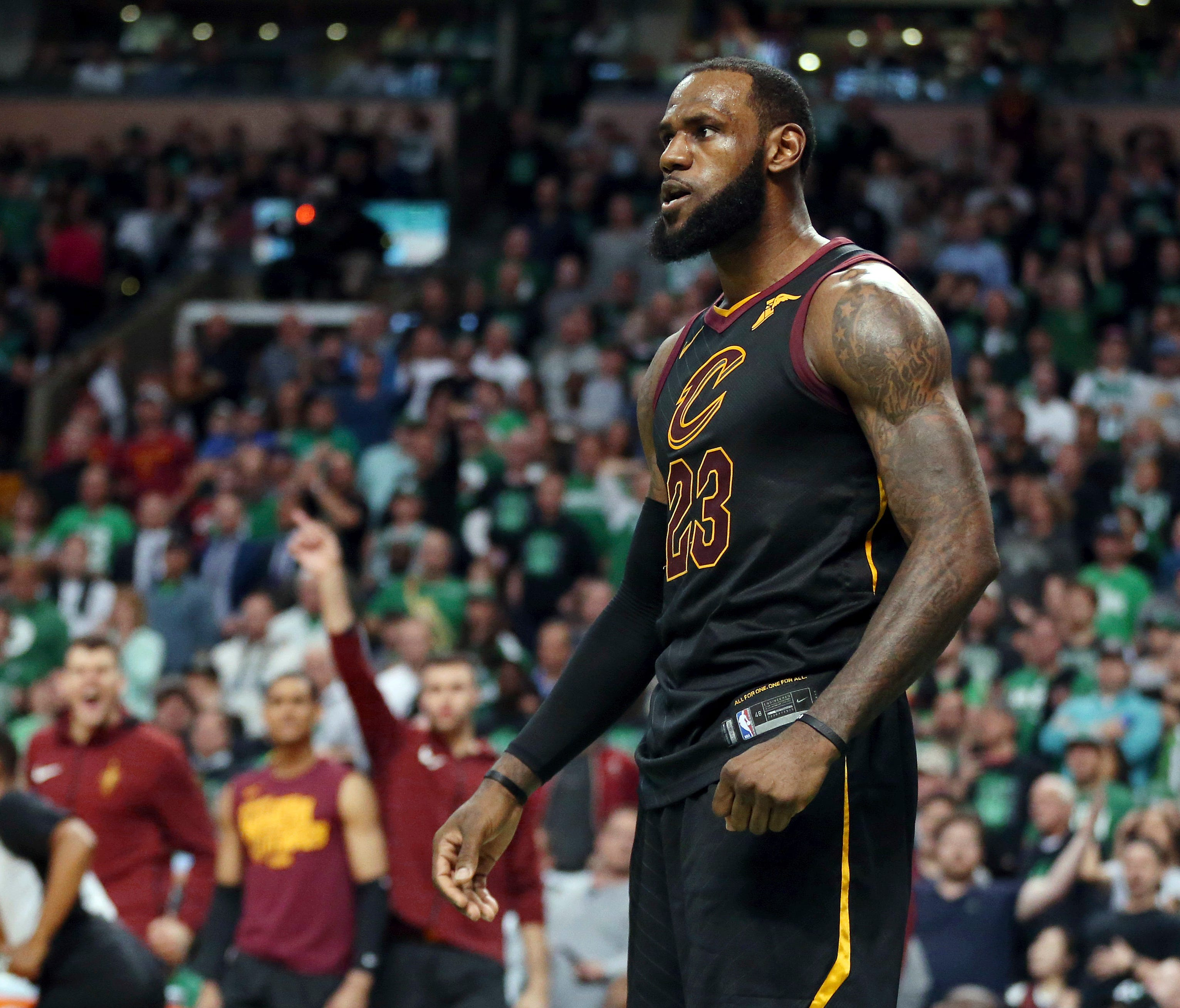 Cleveland Cavaliers forward LeBron James celebrates a basket against the Boston Celtics during the second half of Game 7.