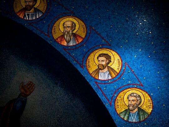 Mosaic images of saints inside St. George Greek Orthodox