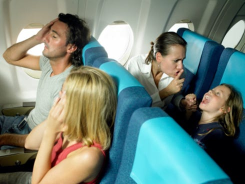 Parents who could not control their crying or misbehaving children topped the list of the most annoying fliers according to an Expedia 2013 report.