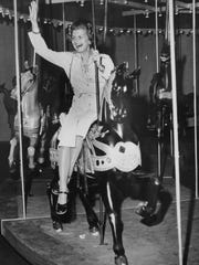 First Lady Betty Ford hopped on a shiny black steed