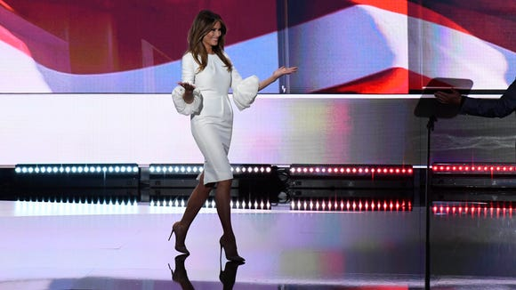 Melania Trump enters the stage during the Republican