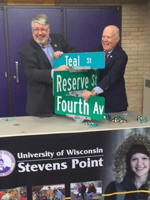 To draw attention to Sexual Assault Awareness Month, a portion of Fourth Avenue has been renamed Teal Street in April. UW-Stevens Point staff, including Chancellor Bernie Patterson, Mayor Mike Wiza (left), law enforcement officers and CAP Services' Sexual Assault Victim Services partner to prevent and respond to sexual assault in the community. They gathered Monday on campus and heard of efforts to increase awareness about sexual assault. On campus, a Center for Prevention was created last July, and 240 people have gone through a bystander intervention program. First-year students are trained in sexual assault prevention and reporting. And a CAP Services advocate is now available on campus.