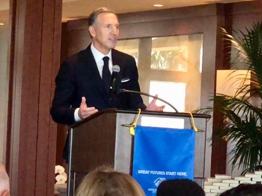 Howard Schultz, executive chairman of Starbucks, spoke Feb. 5  at a Boys & Girls Club of Martin County luncheon.