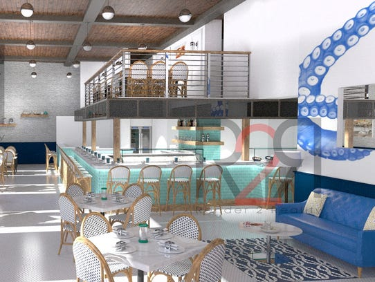 A  rendering of the bar and dining area at Izzy's Fish