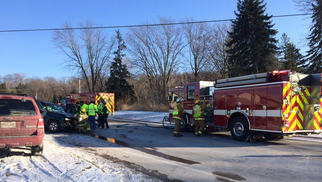 Fond du Lac area fire departments and paramedics respond to a two-vehicle collision at Highway WH and North Peebles Lane around 2 p.m. Thursday, Nov. 20.