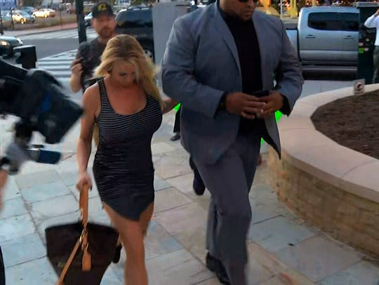 In this image from video, Stormy Daniels arrives at