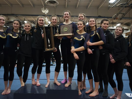 Essex wins the championship for the 11th straight year during the Vermont state high school gymnastics championship at Essex high school on Saturday afternoon in Essex.