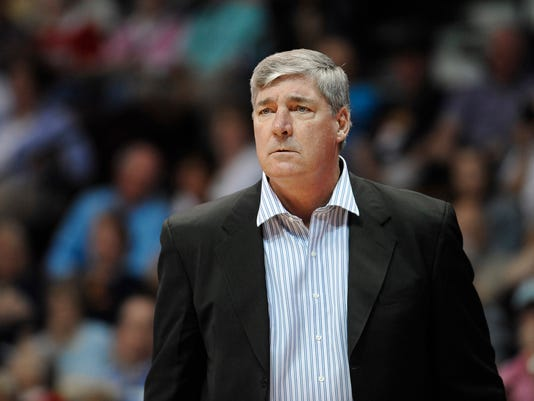 "FILE - In this Aug. 29, 2015, file photo, Bill Laimbeer, then the coach of the New York Liberty, watches the team's WNBA basketball game against the Connecticut Sun in Uncasville, Conn. Laimbeer and the Las Vegas franchise hit the jackpot, winning the WNBA draft lottery on Monday, Nov. 13, 2017.  ""Having the first pick will help to grow a fan base and this will go a long way towards that,"" Laimbeer, coach and president of the Las Vegas franchise, said in a phone interview. ""I'm excited that we'll add a great piece to the puzzle."" (AP Photo/Jessica Hill, File)"