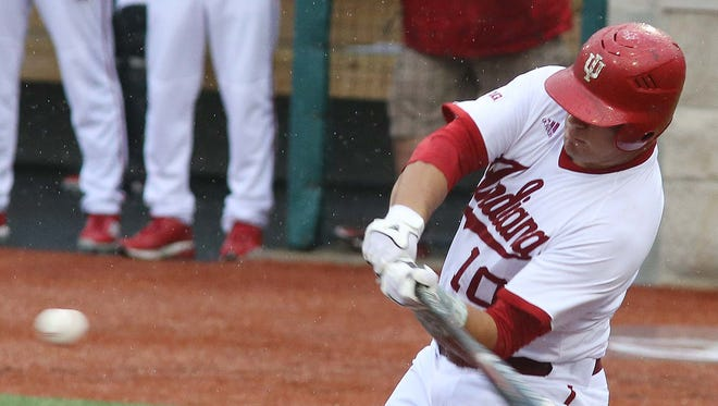 Kyle Schwarber of IU connected on this swing to hit a home run June 2, 2014 against Stanford in NCAA tournament action.