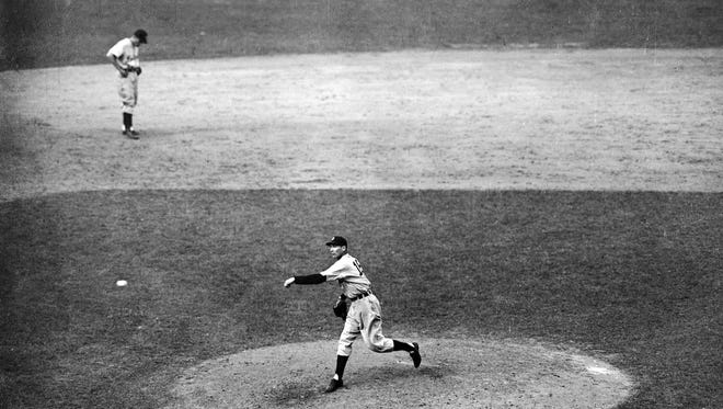 Detroit Tigers pitcher Hal Newhouser during World Series game at Chicago, Oct. 10, 1945. Detroit won the game, 4-3.